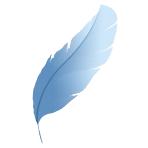 Logo: O pană, simbolul scrierilor și scriiturilor; desigur, albastră